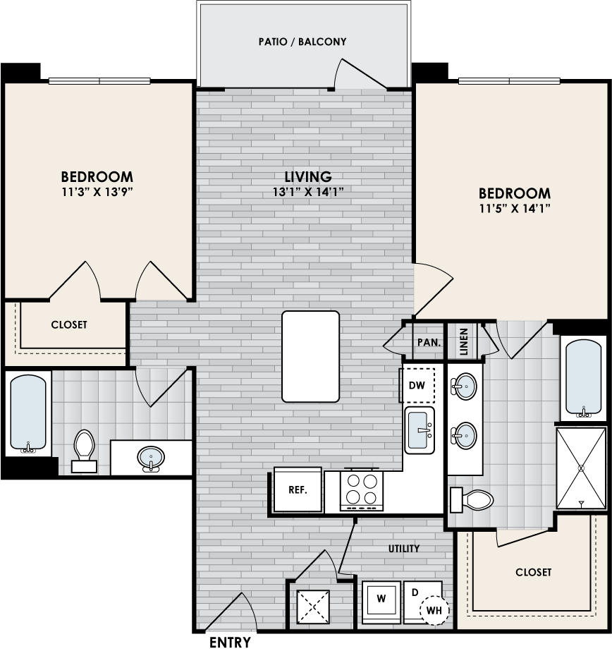 B2D floor plan – 2 bed, 2 bath, 1052 square feet