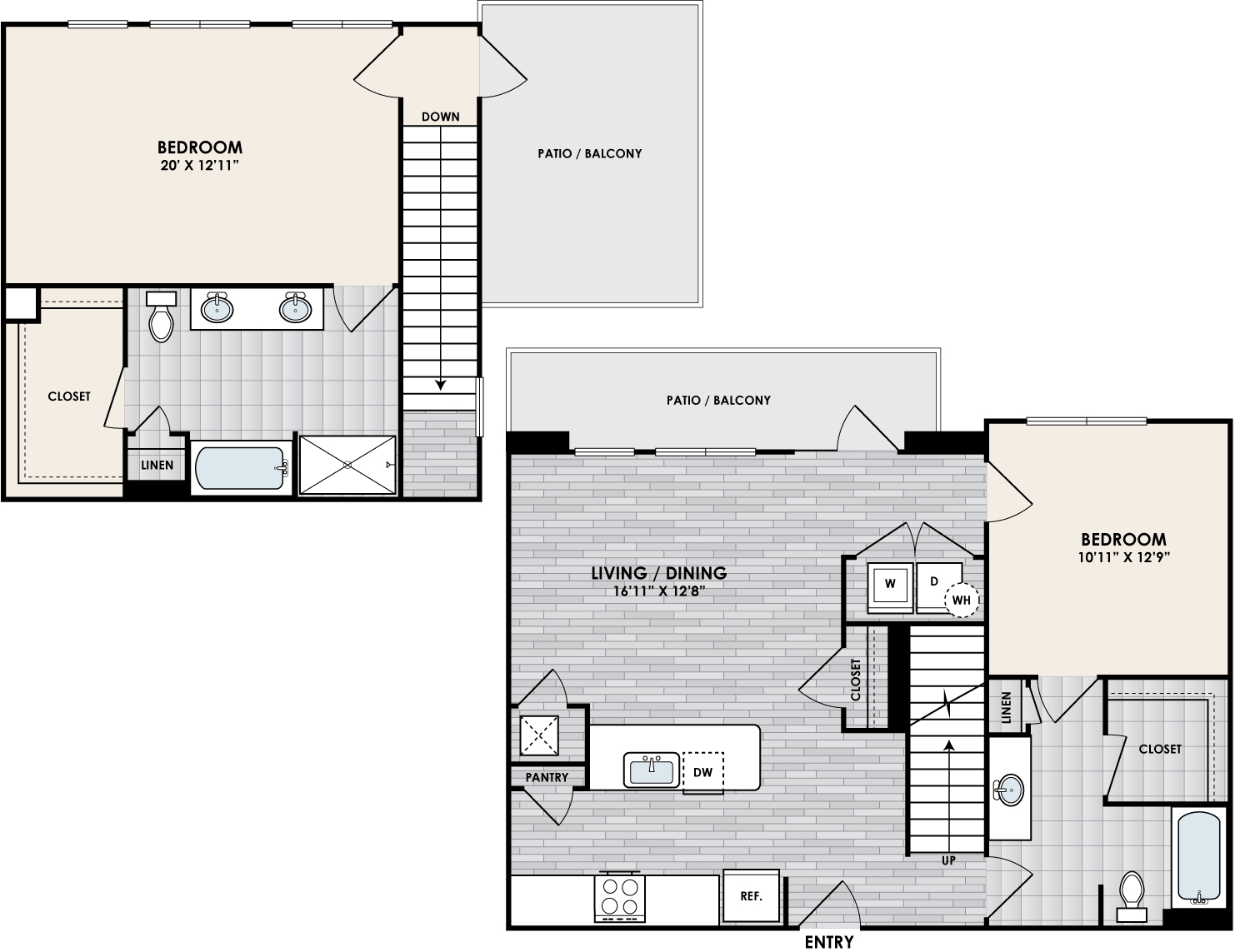 B2S floor plan – 2 bed, 2 bath, 1384 square feet