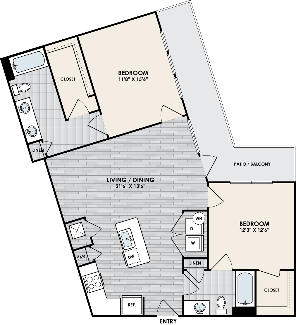 B2H floor plan – 2 bed, 2 bath, 1108 square feet