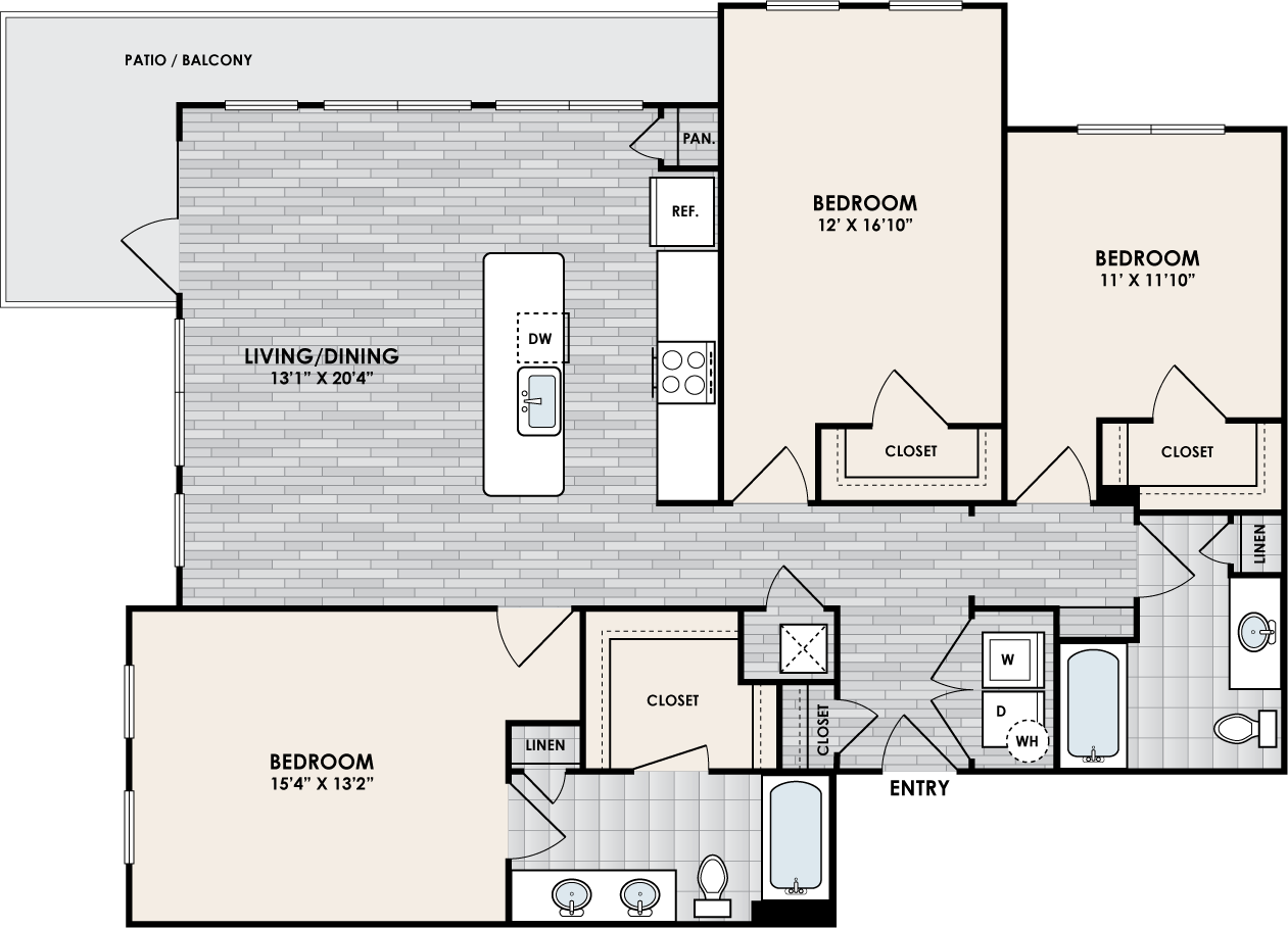 C2B floor plan – 3 bed, 2 bath, 1447 square feet
