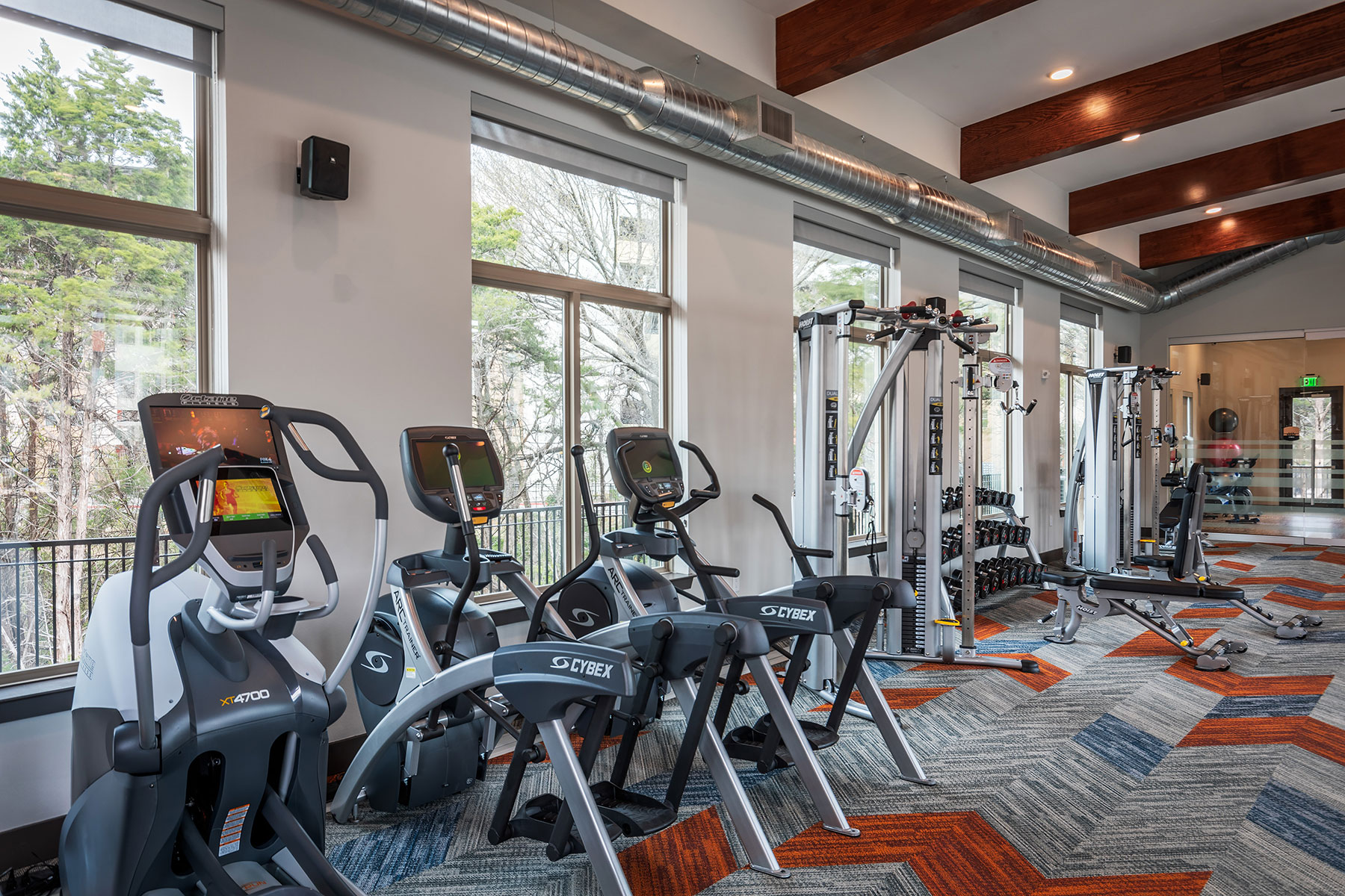 Fitness studio with elliptical machines, free weights, weight machines and large windows.