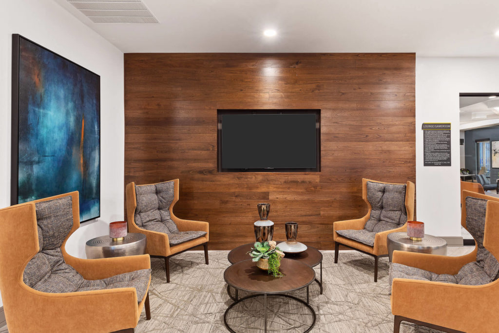 Wooden accent wall with flat screen TV and modern furniture