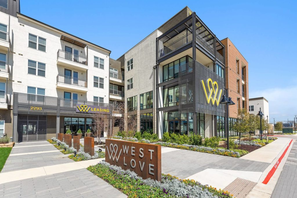 West Love leasing office entrance and monument sign