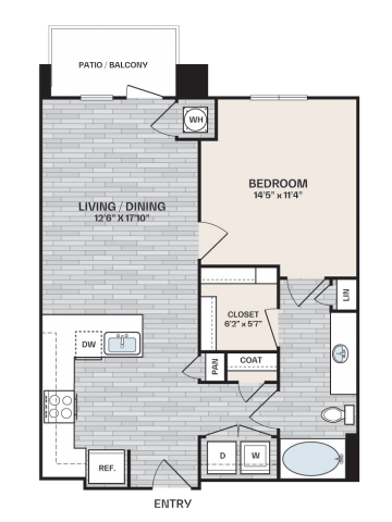 1 bed, 1 bath plan that is 756 square feet