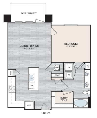 1 bed, 1 bath plan that is 863 square feet