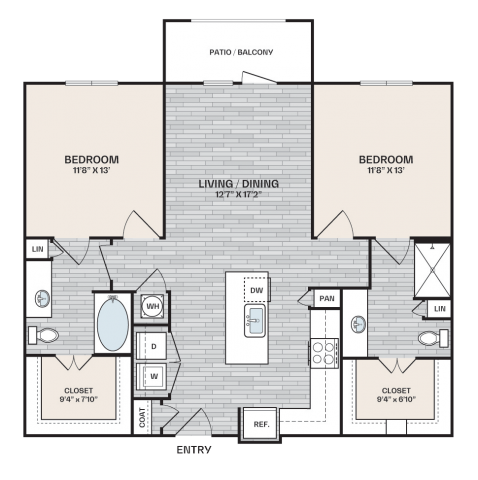 2 bed, 2 bath plan that is 1,083 square feet