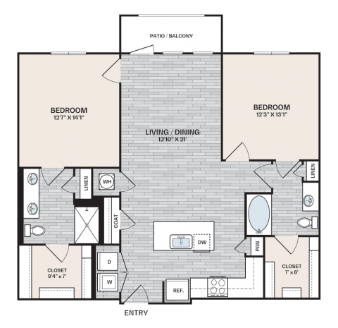 2 bed, 2 bath plan that is 1,184 square feet