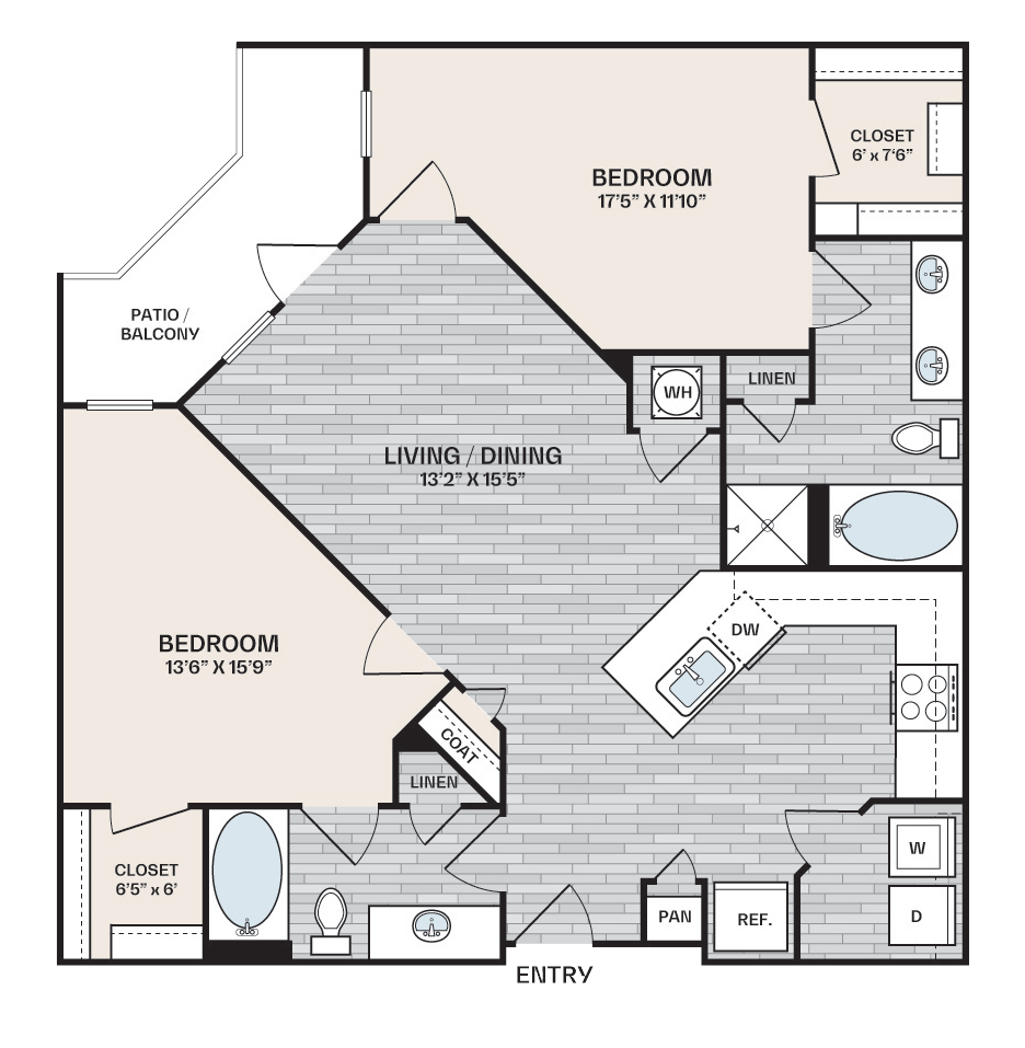 2 bed, 2 bath plan that is 1,152 square feet