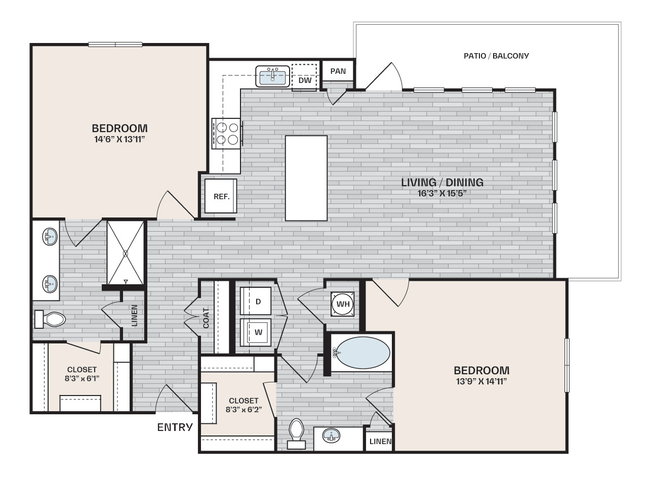 2 bed, 2 bath that is 1,288 square feet