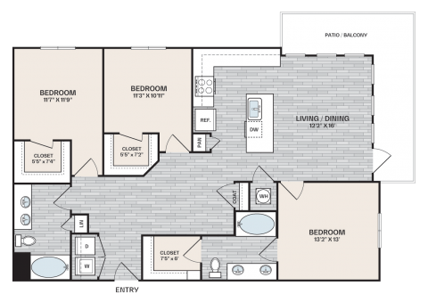 3 bed, 2 bath plan that is 1,368 square feet