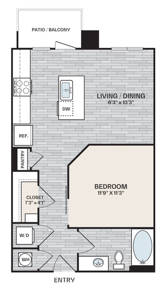 studio plan with 1 bedroom and is 620 square feet