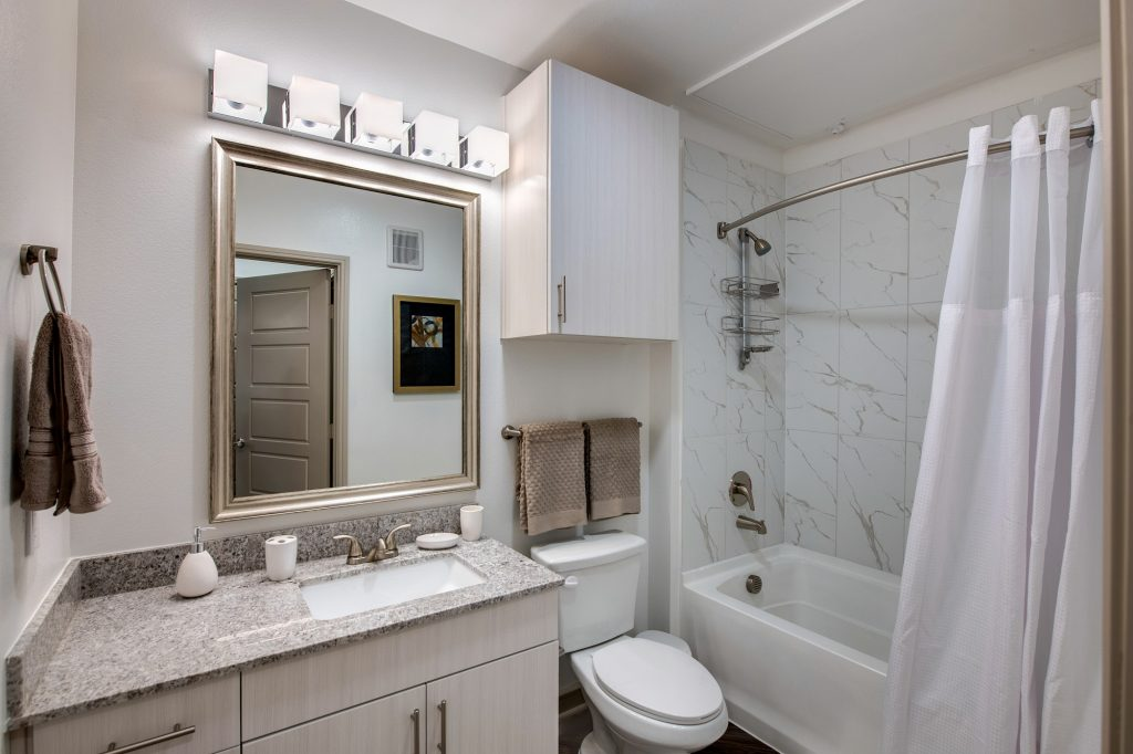 bathroom with granite countertops, single sink, toilet, and tub