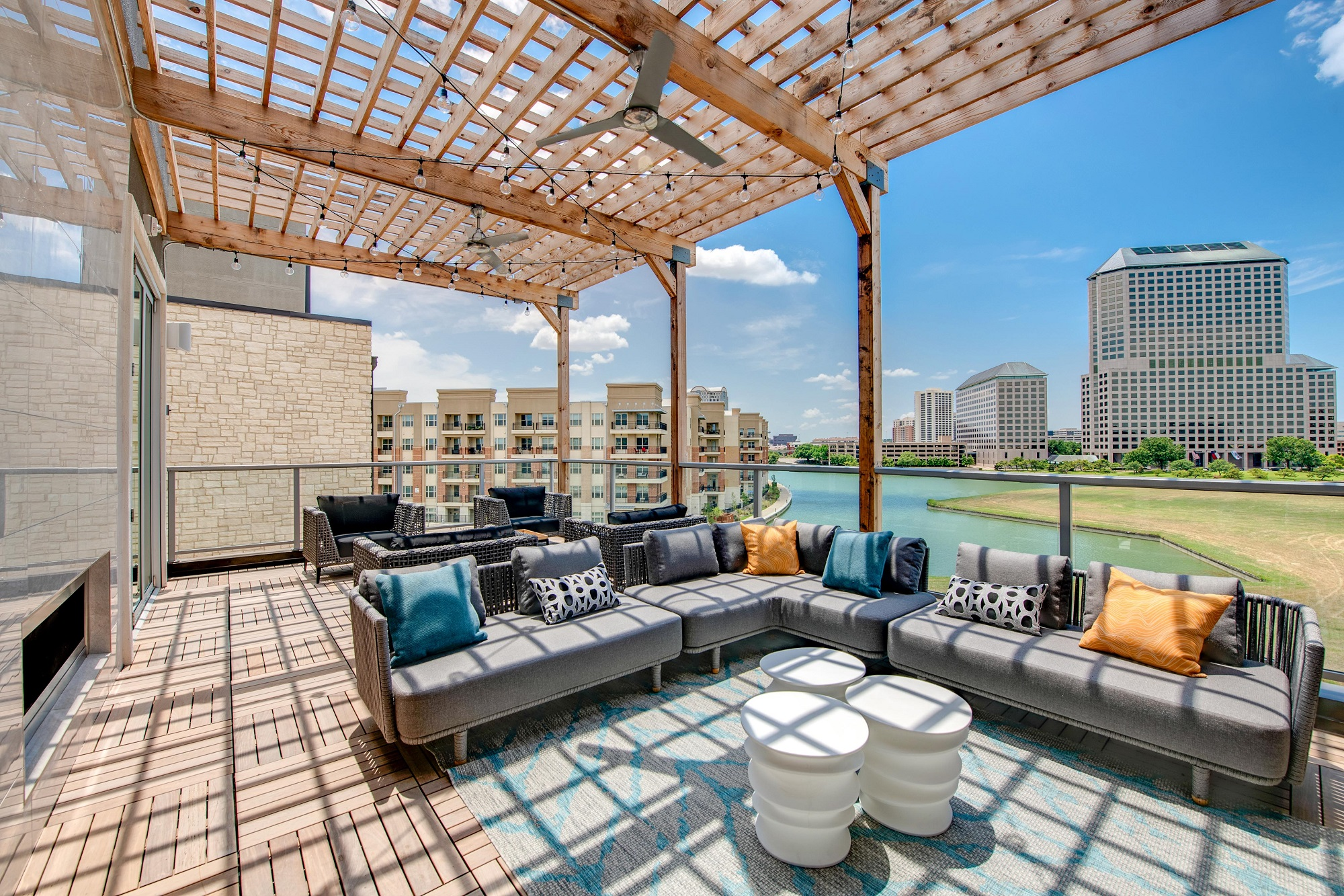outdoor patio lounge with seating and overhead cover