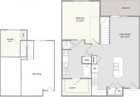 A1R Floor plan with 1 bed, 1 bath and 881 square feet