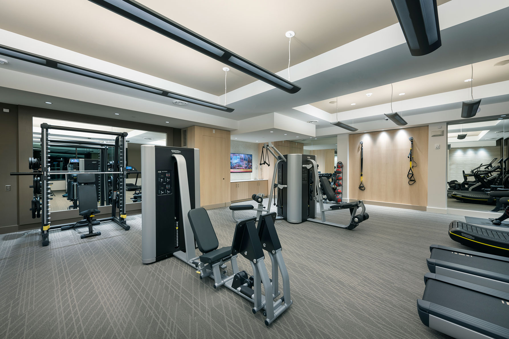 Fitness center with variety of weight machines and bands