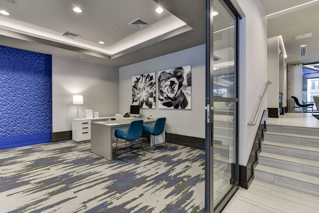 Leasing offices with sliding glass door and modern interior design