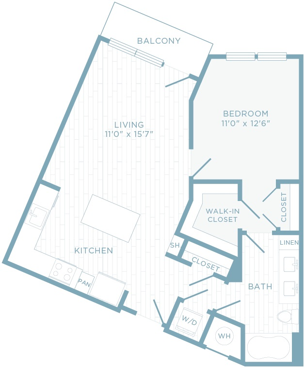 A1K floor plan, 1 bedroom, 1 bathroom with den
