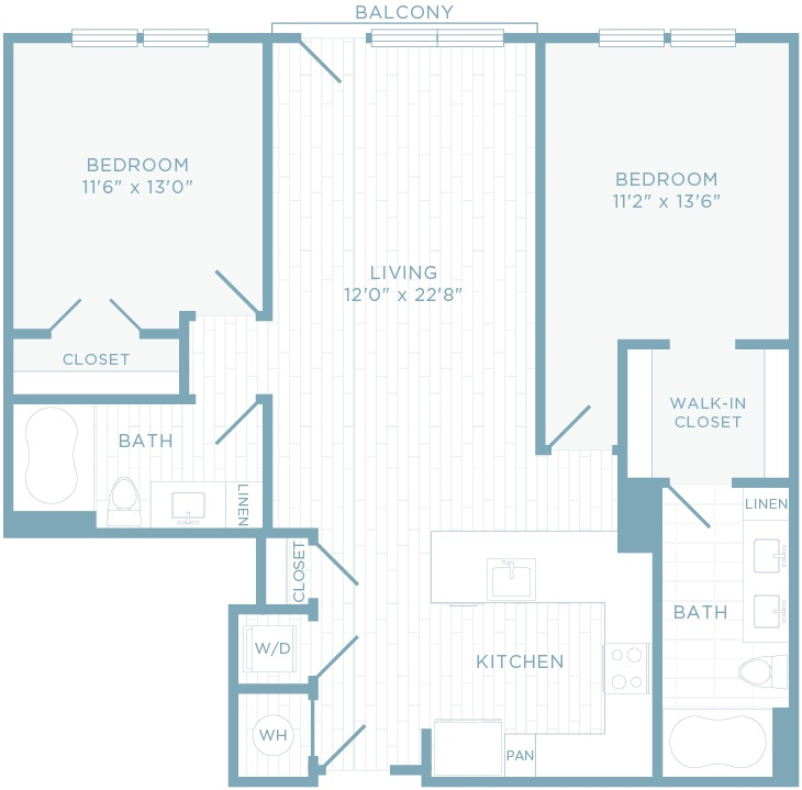 B2F floor plan, 2 bedroom, 2 bathroom