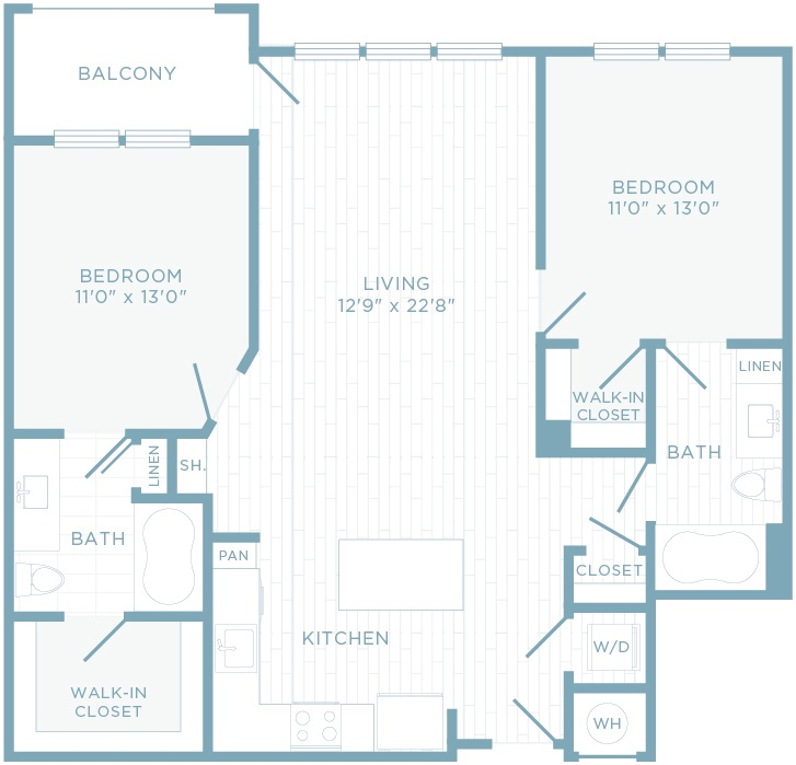 B2B floor plan, 2 bedroom, 2 bathroom