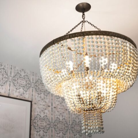 zoomed view of chandelier
