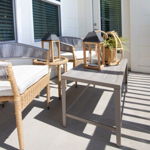 outdoor view of a unit patio with seating and decor