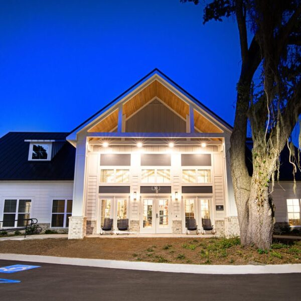 outdoor night view of the clubhouse